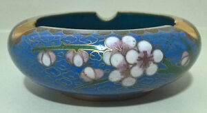 Vntg Chinese Cloisonne Ashtray Cobalt Blue Apple/Cherry Blossom