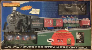 RAIL KING - 0-027 - HOLIDAY EXPRESS STEAM FREIGHT TRAIN SET
