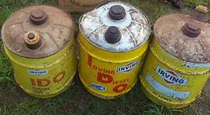 3 Five Gallon Irving Oil Cans