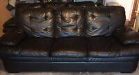 Two (2) Full Size Genuine Leather Couches