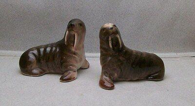 VICTORIA JAPAN WALRUSES SEA LION SALT & PEPPER SHAKERS VI 5A 816