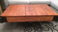 *WOW* ANTIQUE GENUINE FACTORY CART INDUSTRIAL COFFEE TABLE