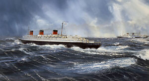 SS Normandie French Line CGT Rex Italian Ocean Liner Marine Painting Art Print
