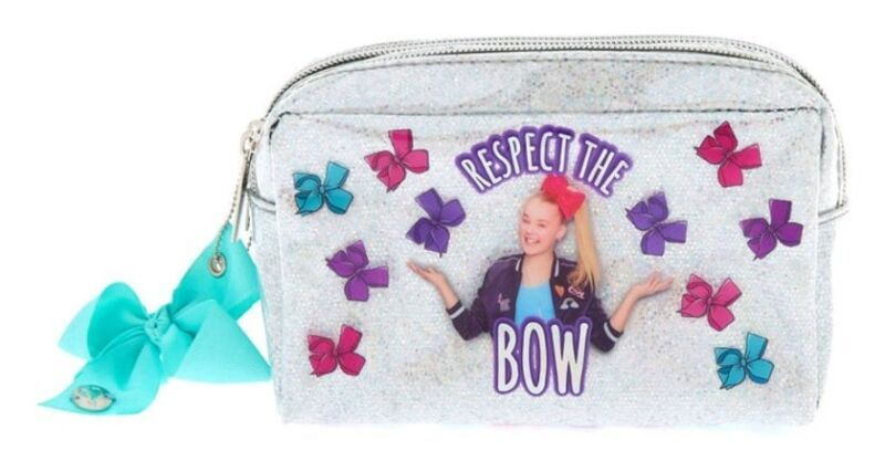 Jojo Siwa Girls Cosmetic Bag With Mirror Bow Print Silver Glitter Make-Up Purse