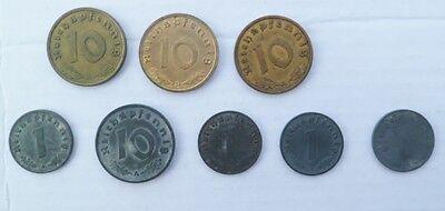 Lot von 8 Münzen 1938-1944