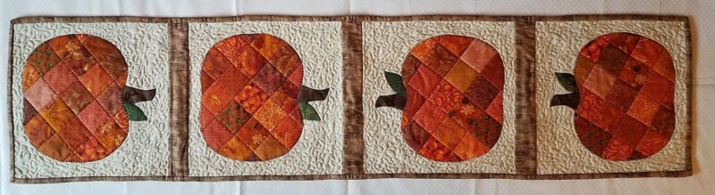 Pumpkin quilted Table Runner, 13 x 53 in - new handmade