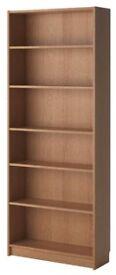 2 x Oak veneer Billy Bookcases from Ikea.