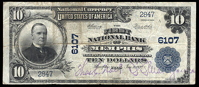 10 1902 Pb First National Bank Of Memphis  Texas Ch 6107  Rare Type Only 10 Lrg