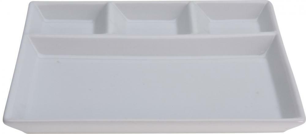 Porcelain plate Snack Serving Plate Dish compartments LATTICE 18.5x7x2cm