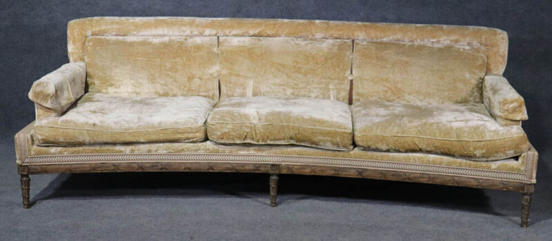 Signed Maison Jansen French Louis XVI Carved Velvet Sofa Couch Goose Feathers