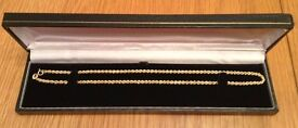 Unworn Hallmarked 9 ct Yellow Gold Rope Chain 16 inch Necklace Boxed *Mother's Day Gift*