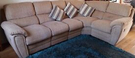 Beige 5-seater L-shaped sofa with footrests for sale