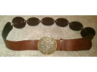 Brown 'Peruna' Leather Belt With Metal Badges (Small)