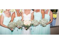 4x Size 10 Mint Green Long Bridesmaid Dresses