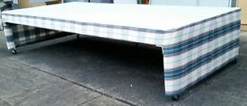 single bed, allows storage under. 190 x 91cm. In good condition.