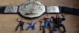 WWE wrestling bundle world heavyweight belt + wrestling figures undertaker Kane Rey £10 no offers