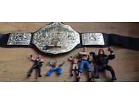 WWE wrestling bundle world heavyweight belt + wrestling figures undertaker Kane Rey £10 no offers