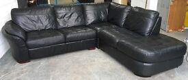 £1800 DFS Black leather corner sofa WE DELIVER UK WIDE