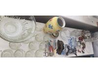 Clear out - Vintage & Retro Joblet inc. Punch Bowl & glasses, Vases, Jugs, Glassware, etc