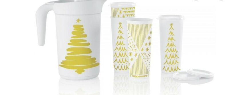 Tupperware Beverage Set Treeful Tidings Christmas Seasonal Kitchen Serving