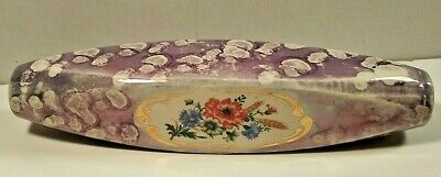 SPONGE WARE IRIDESCENT LILAC CERAMIC DECORATION. FLORAL GOLD GILDED CARTOUCHE