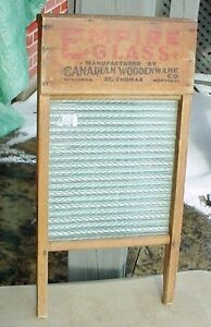 Antique Empire Glass1890s wooden & glass St Thomas washboard London Ontario image 2