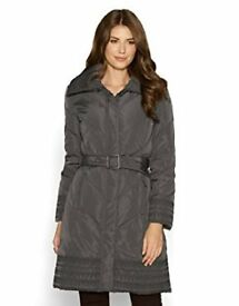 Monsoon Womens Grey Embroidered Long Down Padded Coat Jacket Small Mint condition