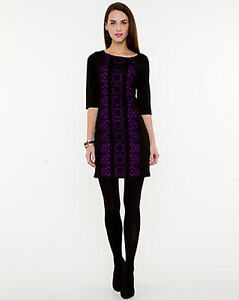 Le Chateau Black and Purple Sweater Dress ~ Size L ~ NWT