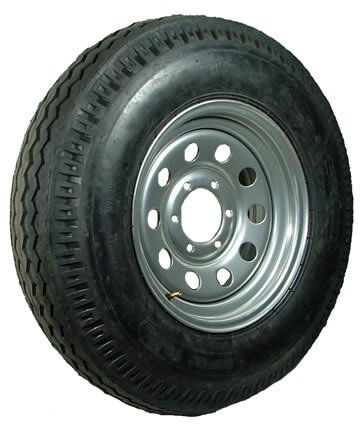 "16"" 6-5.5"" Bolt Circle Silver Modular Wheel and ST23580R16E Radial Trailer Tire"