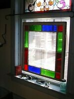 antique window - red, green and blue flash glass
