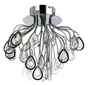"""15.75"""" S-Flush Mount w. Crystal Drops Chrome -Brand New  in Box"""