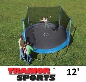 NEW* TRAINOR SPORTS TRAMPOLINE 12'  ENCLOSED - Trampoline and Enclosure Combo Outdoor Play Bouncers 77500009