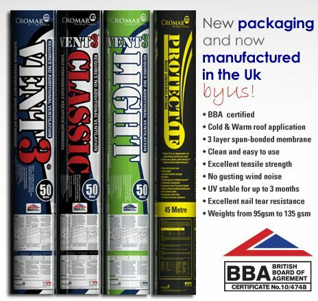 20eeea09bba CROMAR Breathable Membrane Roofing Felt ALL SIZE ROLLS Available Tile/Slate  WHOLESALE PRICES