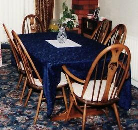 Ercol dining table 4chairs and 2 carver chairs Swan Design