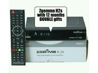 Zgemma h2s recordable box with 12 months Double gifts Glitch-Free Freeze-Free Guaranteed
