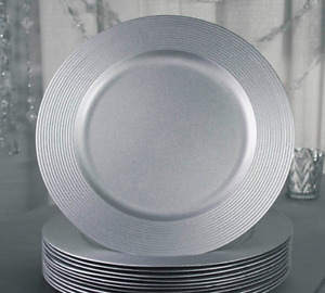 "(RENT) CHARGER PLATES $1 each 13"" Round Silver Wedding Sweet 16"