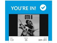 3x Beyonce & Jay Z OTRII Tickets SEATED: Section 131 - Saturday 16th June 2018 @ London Stadium