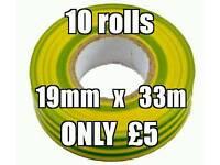 10 rolls 19mm x 33m Green / Yellow Insulating Tape