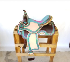 Super Cute pink and turquoise saddle