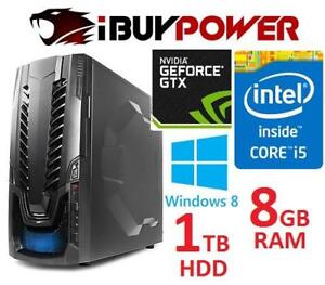 NEW IBUYPOWERPC GAMING DESKTOP PC 156360938 I5 4460 8GB RAM 1TB HDD GTX750 GPU COMPUTER WIN 8 OS