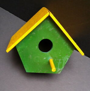 Cute Hand-Crafted Wooden Bird House with Perch