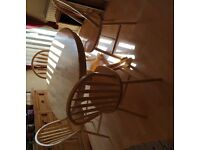 Round Pine Dining Room Table % Chairs