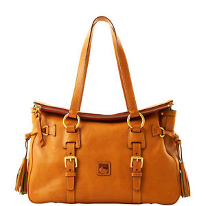 DOONEY & BOURKE Natural Florentine Leather Double Strap Tassel Satchel Bag 8L803