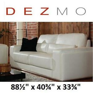 "NEW* DEZMO BONDED LEATHER SOFA - 121243873 - 88.5""x40.75""x33.75"" WHITE"