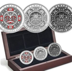 Fine Silver Ultra-High Relief 3-Coin Set – Singing Moon Mask – M