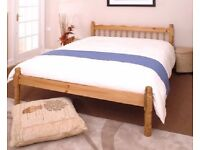 Brand new 4ft6 double traditional pine bed frame with thick luxury mattress. Free delivery