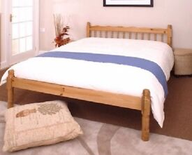Quality 4ft6 traditional pine double bed frame, brand new, free delivery