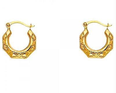 14K Solid Yellow White Gold Fancy Hollow Hoop Earrings Self Design
