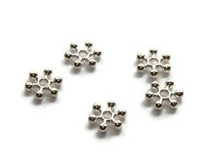 100 x Premium Quality Snowflake Spacer Beads ♥ 3 Colours ♥ 8mm ♥ lady-muck1