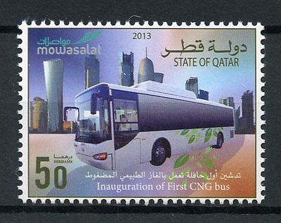 Qatar 2013 MNH Inauguration of First CNG Bus 1v Set Buses Transport Stamps